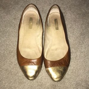 Louise et Cie tan leather flats with bronze toes